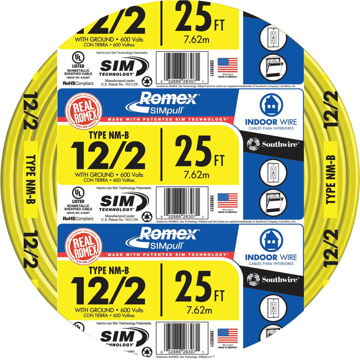 Southwire Romex SIMpull NM-B 12/2 Indoor Wire with Ground