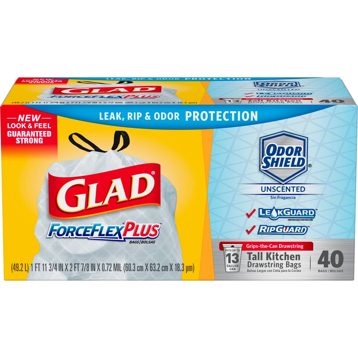 Glad ForceFlex Plus Drawstring Unscented White Odor Shield 13 Gallon ...