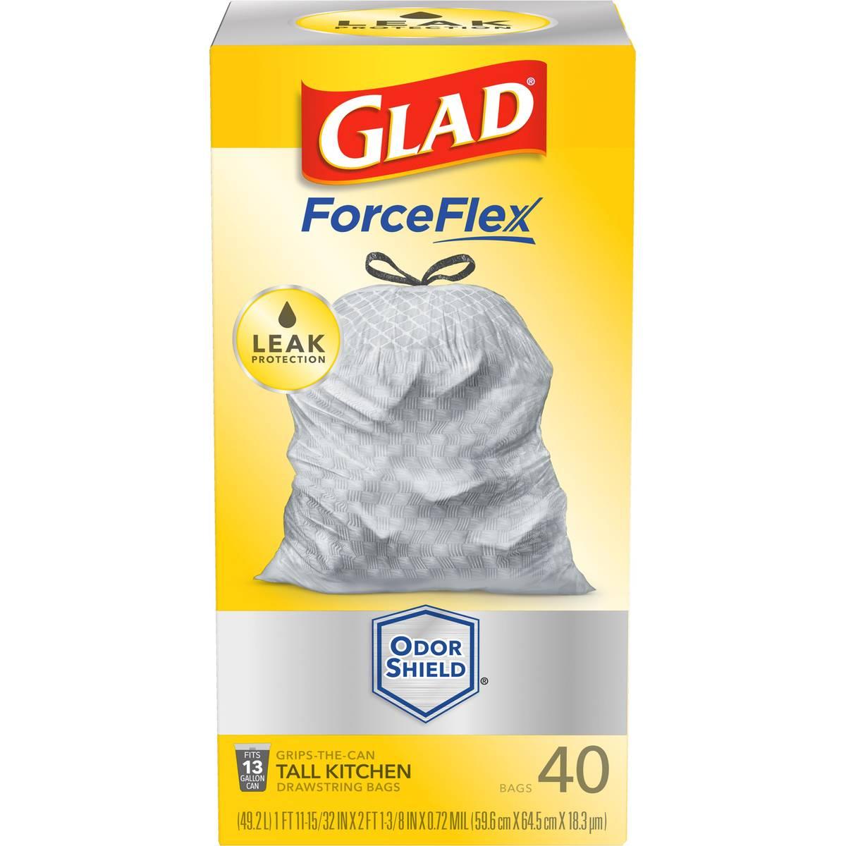 Glad ForceFlex Plus Drawstring Unscented White Odor Shield 13 Gallon ...