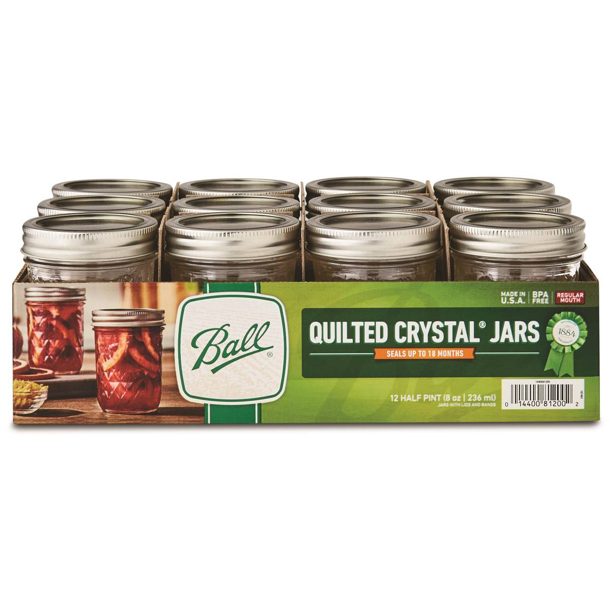 Ball Quilted Crystal Jelly 8 oz Mason Jars