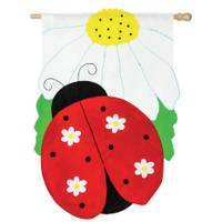 Evergreen Enterprises Daisy Ladybug Applique Garden Flag from Blain's Farm and Fleet