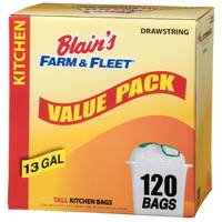 Blain's Farm & Fleet 13 Gallon Drawstring Kitchen Bags from Blain's Farm and Fleet