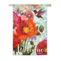 Evergreen Enterprises Hummingbird & Poppies Vertical Flag from Blain's Farm and Fleet