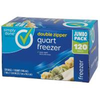 Simply Done Double Zipper Quart Freezer Bags - 120 Count from Blain's Farm and Fleet