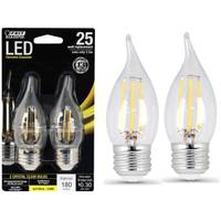 FEIT Electric 3W/25W LED, Flame Tip, E26, 2700K, 2-Pack from Blain's Farm and Fleet