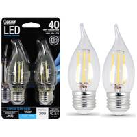 FEIT Electric 45W/40W Dimmable LED Flame Tip, E26, 5000K, 2-Pack from Blain's Farm and Fleet