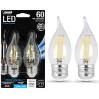 FEIT Electric 6W/60W Dimmable LED, Flame Tip, E26, 5000K, 2-Pack from Blain's Farm and Fleet