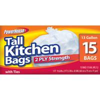 Powerhouse 13 Gallon Tall Kitchen Bags - 15 Count from Blain's Farm and Fleet