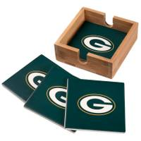 The Memory Company Green Bay Packers Square Ceramic Coasters - 4 Pack from Blain's Farm and Fleet
