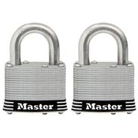 Master Lock Laminated Stainless Steel Shackle Keyed Padlock - 2 Pack from Blain's Farm and Fleet