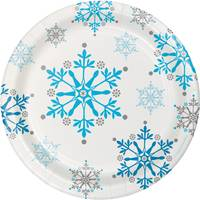 Creative Converting Snowflake Swirls Luncheon Plates from Blain's Farm and Fleet