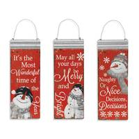 Gerson International Metal Red Snowman Hanging Sign Assortment from Blain's Farm and Fleet