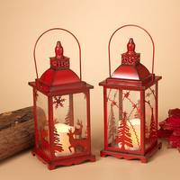 Gerson International Metal & Glass Red Lantern with Candle Assortment from Blain's Farm and Fleet