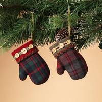 Gerson International Plush Plaid Fabric Mitten Ornament Assortment from Blain's Farm and Fleet