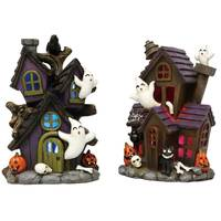 Transpac Imports Inc. Mini Resin Light-Up Haunted Ghost House Assortment from Blain's Farm and Fleet