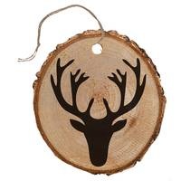 The Gift Wrap Company Holiday Stag Wood Slice Embellishment Tag from Blain's Farm and Fleet