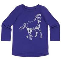 Carhartt Toddler Girls' Deep Blue Long Sleeve Glitter Horse Tee from Blain's Farm and Fleet