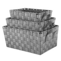 Whitmor 3-Piece Grey Woven Strap Storage Baskets from Blain's Farm and Fleet