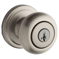 Kwikset Juno Keyed Entry Knob featuring SmartKey in Satin Nickel from Blain's Farm and Fleet