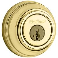 Kwikset 980 Single Cylinder Deadbolt featuring SmartKey in Polished Brass from Blain's Farm and Fleet