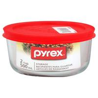 Pyrex Simply Store 2 Cup Round Dish With Red Lid from Blain's Farm and Fleet