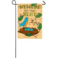 Evergreen Enterprises Songbird on a Nest Burlap Garden Flag from Blain's Farm and Fleet