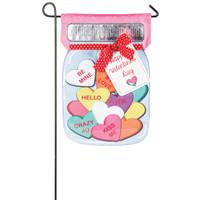 Evergreen Enterprises Valentines Candy Jar Garden Linen Flag from Blain's Farm and Fleet
