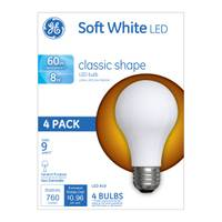 GE Classic Shape Soft White LED Bulb - 4 Pack from Blain's Farm and Fleet