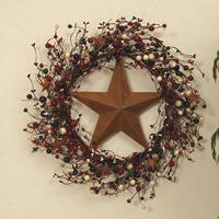 Gerson International Americana Twig & Berry Wreath with Rustic Star from Blain's Farm and Fleet