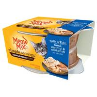 Meow Mix 1.3 oz Simple Servings Tuna Shrimp & Whitefish Cat Food 2-Pack from Blain's Farm and Fleet
