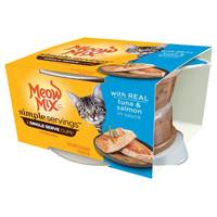 Meow Mix 1.3 oz Simple Servings Tuna & Salmon Cat Food 2-Pack from Blain's Farm and Fleet