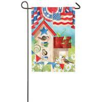 Evergreen Enterprises Patriotic Birdhouse Garden Satin Flag from Blain's Farm and Fleet