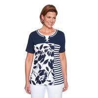 Alfred Dunner Misses Spliced Floral Stripe Top from Blain's Farm and Fleet