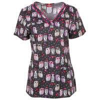 Dickies Misses V Neck Love Hoo Owl Print Scrubs Top from Blain's Farm and Fleet