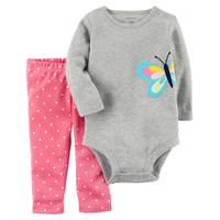 Carter's Infant Girl's Gray & Pink 2-Piece Bodysuit & Pants Set from Blain's Farm and Fleet