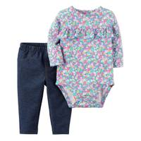 Carter's Infant Girl's Multi-Colored 2-Piece Floral Bodysuit & Pants Set from Blain's Farm and Fleet