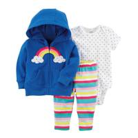 Carter's Baby Girl's Blue & White & Pink 3-Piece Little Jacket Set from Blain's Farm and Fleet