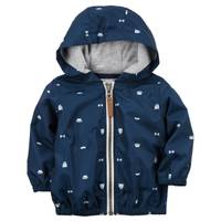 Carter's Infant Boy's Navy Zip-Up Poplin Hoodie from Blain's Farm and Fleet