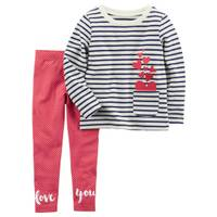 Carter's Toddler Girl's White & Red 2-Piece French Terry Top & Polka Dot Leggings Set from Blain's Farm and Fleet
