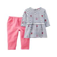 Carter's Infant Girl's White & Pink 2-Piece Heart Top & French Terry Pants Set from Blain's Farm and Fleet