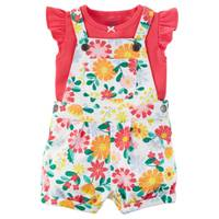 Carter's Baby Girl's Red & White 2-Piece Bodysuit & Shortalls Set from Blain's Farm and Fleet