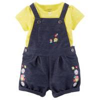Carter's Infant Girl's Yellow & Blue 2-Piece Bodysuit & Shortalls Set from Blain's Farm and Fleet