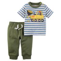Carter's Little Boys' 2-Piece Pant Set Grey & Olive from Blain's Farm and Fleet