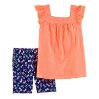 Carter's Little Girls' 2-Piece Short Set Orange & Navy from Blain's Farm and Fleet