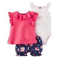 Carter's Baby Girl's Pink & Blue & White 3-Piece Bodysuit & Diaper Cover Set from Blain's Farm and Fleet