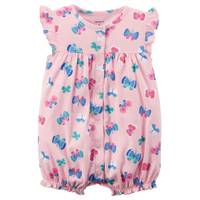 Carter's Infant Girl's Pink Butterfly Snap-Up Romper from Blain's Farm and Fleet
