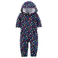 Carter's Infant Girl's Navy Heart Hooded Jumpsuit from Blain's Farm and Fleet