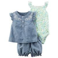 Carter's Infant Girl's Blue & Green 3-Piece Bodysuit & Diaper Cover Set from Blain's Farm and Fleet