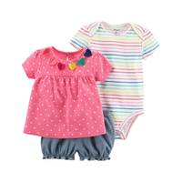 Carter's Baby Girl's Multi-Colored 3-Piece Bodysuit & Diaper Cover Set from Blain's Farm and Fleet