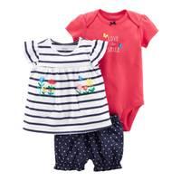 Carter's Infant Girl's White & Navy & Pink 3-Piece Bodysuit & Diaper Cover Set from Blain's Farm and Fleet